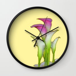 PURPLE & WHITE CALLA LILIES FLORAL YELLOW ART Wall Clock