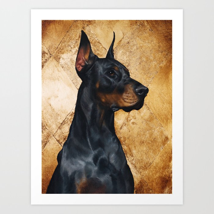 8e570b4cc6883 Black and Gold ( Doberman dog ) Art Print by katetoluzakova   Society6