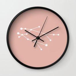 Gemini Zodiac Constellation - Pink Rose Wall Clock