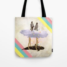 couple who travels on a cloud with a whale  Tote Bag