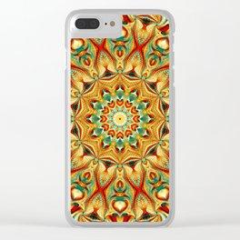 Flower Of Life Mandala (Tangerine) Clear iPhone Case