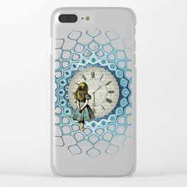Alice In Wonderland Time - Vintage Book Clear iPhone Case