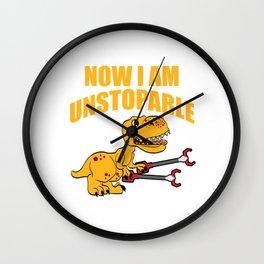 "Dinosaur Shirt For Animal Lovers ""Now I Am Unstoppable"" T-shirt Design Jurassic Park Reptiles Wall Clock"