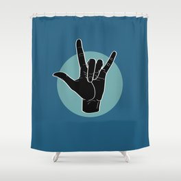 ILY - I Love You - Sign Language - Black on Green Blue 07 Shower Curtain