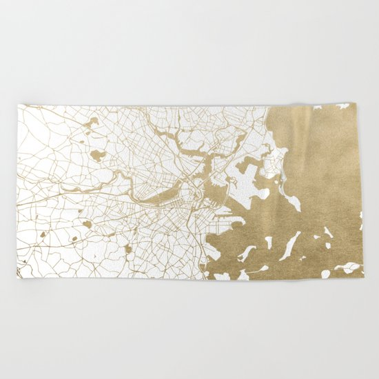 Boston White and Gold Map Beach Towel