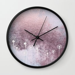 Dandelion Floral Drawing on Rose Gold Metal Wall Clock