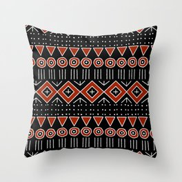 Mudcloth Style 2 in Black and Red Throw Pillow