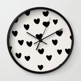 Big Hearts Brush Strokes Pattern Wall Clock