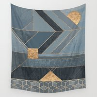 nordic Wall Tapestries featuring Nordic Blue by Elisabeth Fredriksson
