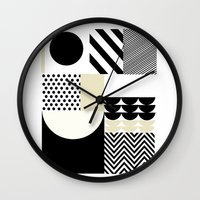 parks and recreation Wall Clocks featuring Happiness recreation by MILLIE