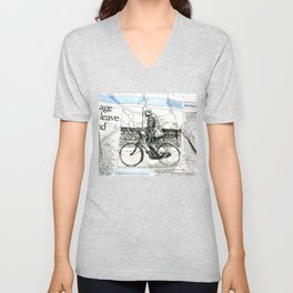 CP Scott on a Bicycle Unisex V-Neck