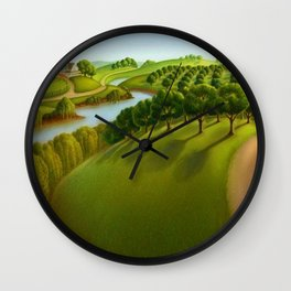 Classical Masterpiece 'The Plains' by Grant Wood Wall Clock