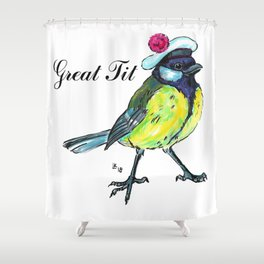 Great tit in white beret Shower Curtain