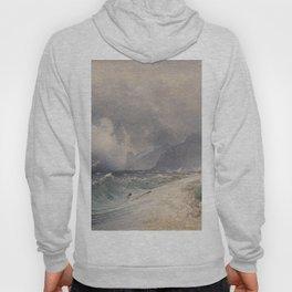 Storm On Lake Garda 1839 by Rudolf von Alt   Reproduction Hoody