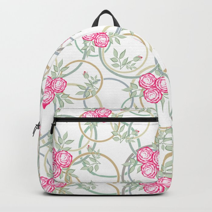 Pink roses on white  background. Backpack