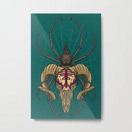 Spider Skull Metal Print