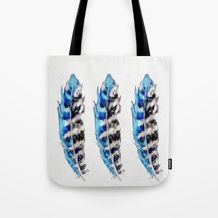 Three Blue Feathers Tote Bag