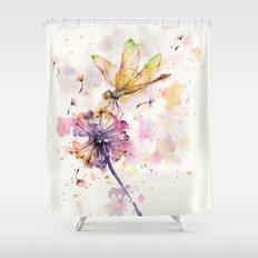 dragonfly u0026 dandelion dance shower curtain