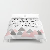 nicki Duvet Covers featuring let her sleep for when she wakes, she will move mountains by Nicki Traikos