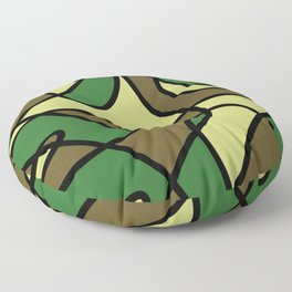 Camo Curves - Abstract, camouflage coloured pattern Floor Pillow