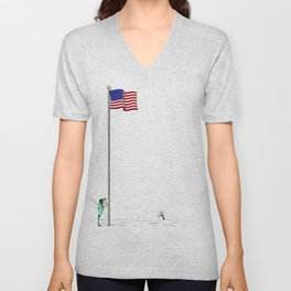 Pole America American US USA Flag Funny Pictures Humor Funny Gift Ideas Unisex V-Neck