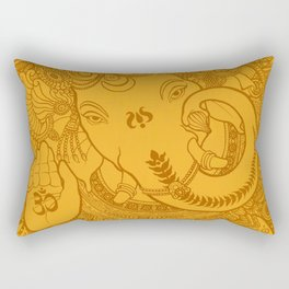 Ganesha Lineart Yellow Rectangular Pillow