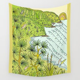 pointbreaks in paradise // lookout in raglan new zealand // retro surf art by surfy birdy Wall Tapestry