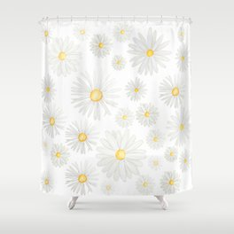 white daisy pattern watercolor Shower Curtain