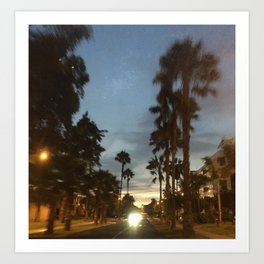 Blurry Palm trees in the street Art Print