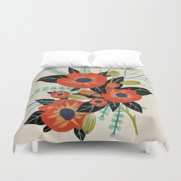 Red Poppies - Ivory Duvet Cover