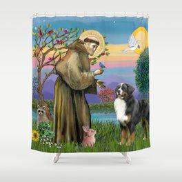 Saint Francis Blesses a Bernes Mountain Dog Shower Curtain