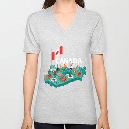 Canada Proud Canadian Flag Gift Unisex V-Neck