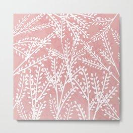 Pink Leaves Metal Print