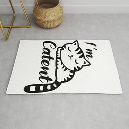 I'm Catent - Content White Sleeping Kitty Cat Rug