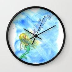 Mermaid and Dolphin - Nautical Ocean Art Wall Clock