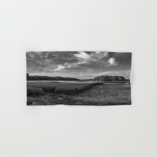 Sky and Marsh Black and white Hand & Bath Towel