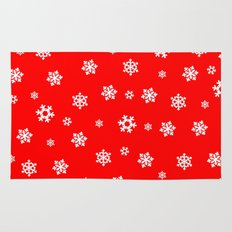 Snowflakes (White on Red) Rug