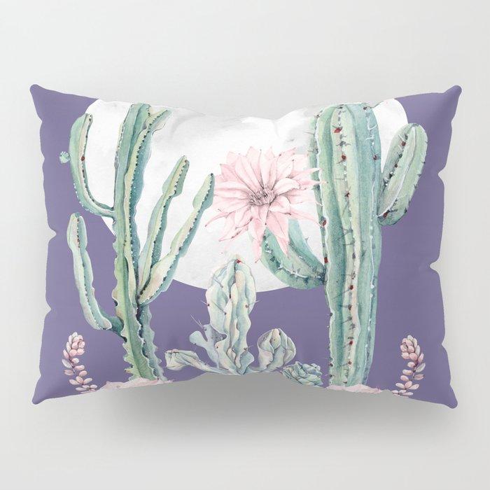 Desert Cactus Full Moon Succulent Garden on Purple Pillow Sham