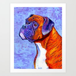 Devoted Guardian - Brindle Boxer Dog Art Print