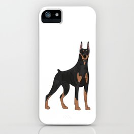 Dog drawing Doberman. Pet portrait in full growth. iPhone Case