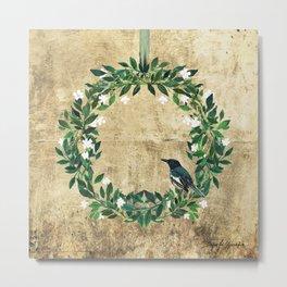 Wreath #White Flower & Bird #Royal collection Metal Print