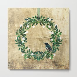 Wreath #White Flowers & Bird #Royal collection Metal Print