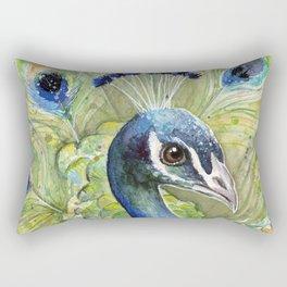 Peacock Watercolor Painting | Exotic Birds Rectangular Pillow