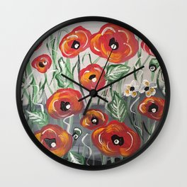 Poppy Poppies Flowers Red Green Design Wall Clock