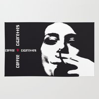 cigarettes Area & Throw Rugs featuring coffee + cigarettes by Jay Hops :: www.jayhops.de