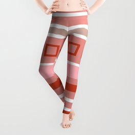 Simple red geometric pattern of squares and stripes Leggings
