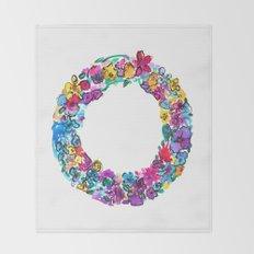 O Letter Floral Throw Blanket