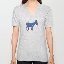 I Love Donkey Rider Jackass Mule Funny Democrat Jockey Blue Red Clean Unisex V-Neck