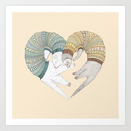 Ferret Sleep Love Art Print