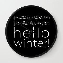 Hello winter! (black) Wall Clock
